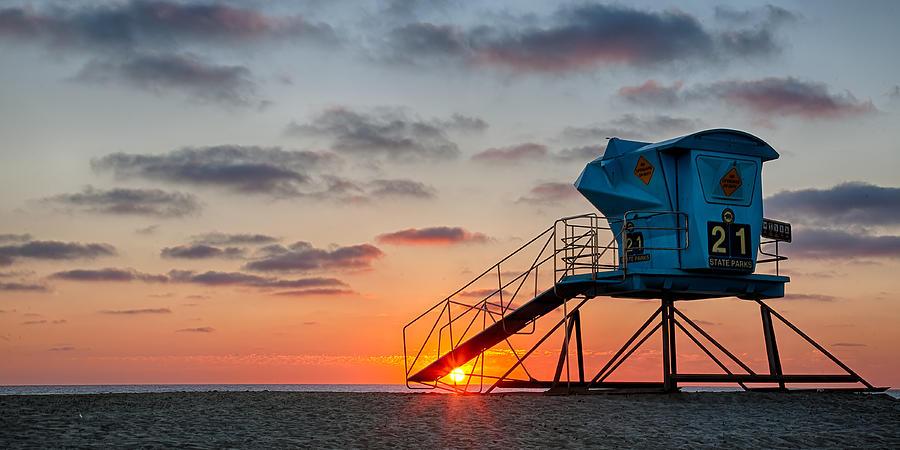 Beach Photograph - Beach Tower Wide Screen by Peter Tellone