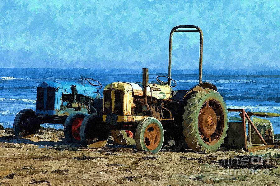 Beach Tractors Photo Art by Les Bell