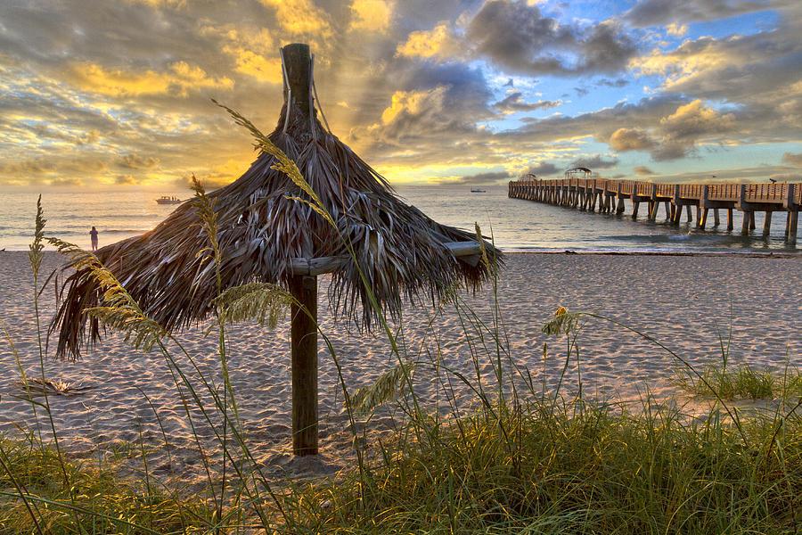 Clouds Photograph - Beach Umbrella by Debra and Dave Vanderlaan