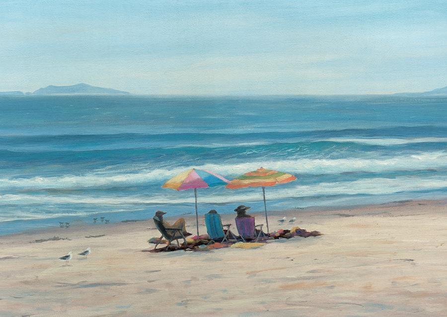 Beach Painting - Beach Umbrellas by Tina Obrien