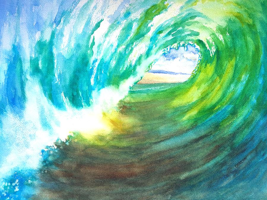 Wave Painting - Beach View From Wave Barrel by Carlin Blahnik
