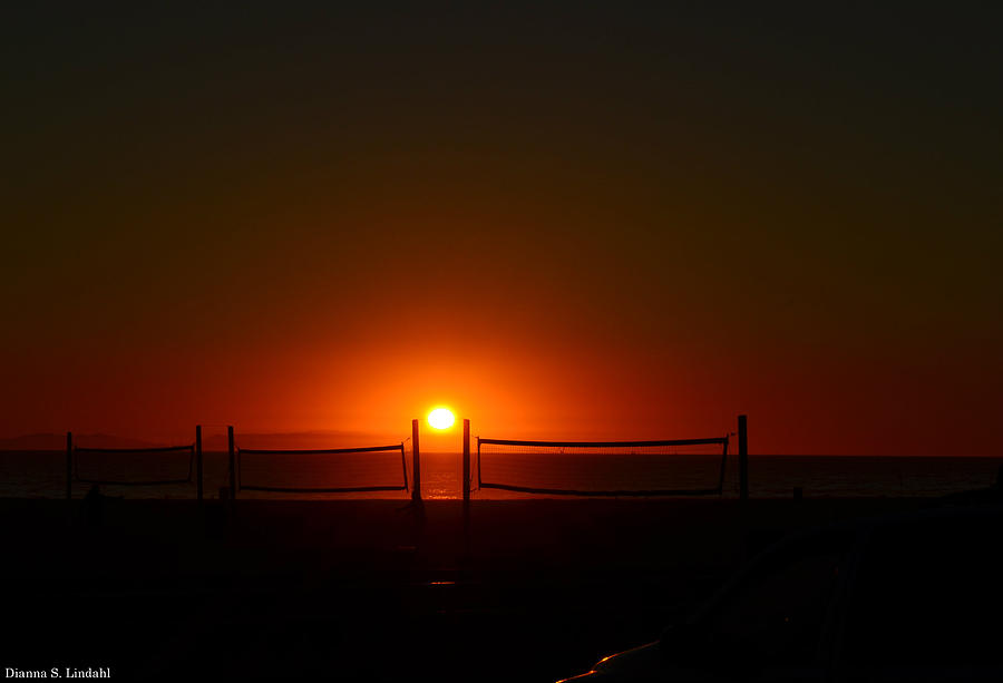 Sunset At The Beach Photograph - Beach Volleyball by Dianna Lindahl