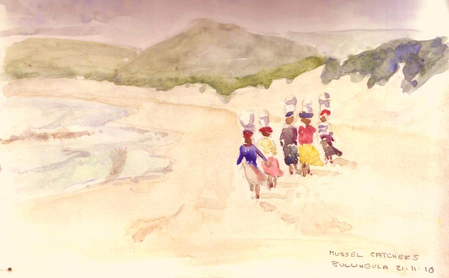Beach Walk Painting by David  Hawkins