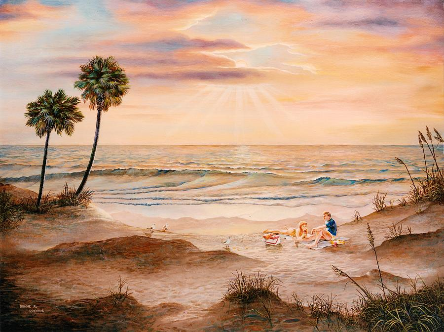 Beach Painting - Beachcombers by Duane R Probus