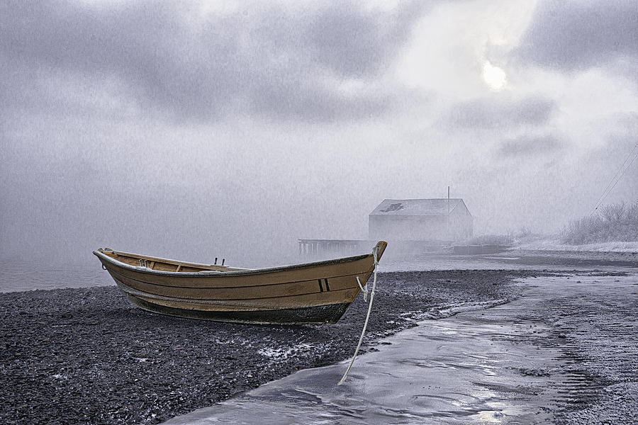 Beached Dory In Sub Zero Sea Smoke by Marty Saccone