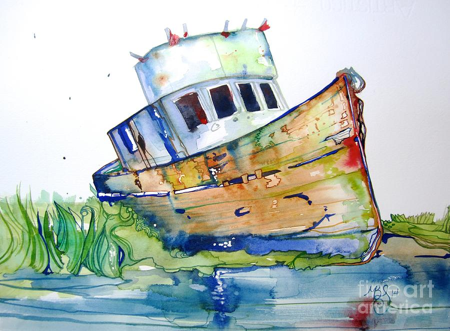 Boat Painting - Beached by Maya Simonson