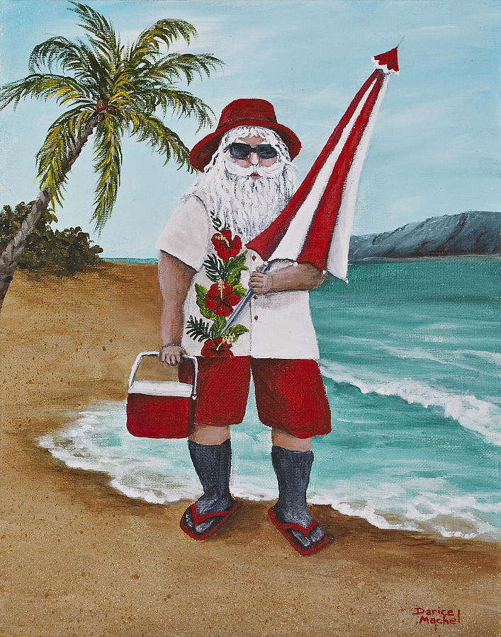 Christmas Painting - Beachen Santa by Darice Machel McGuire