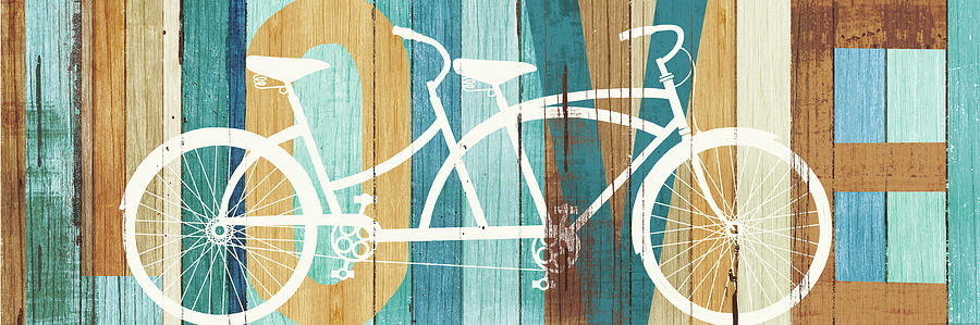 Bicycle Painting - Beachscape Tandem Bicycle Love by Michael Mullan