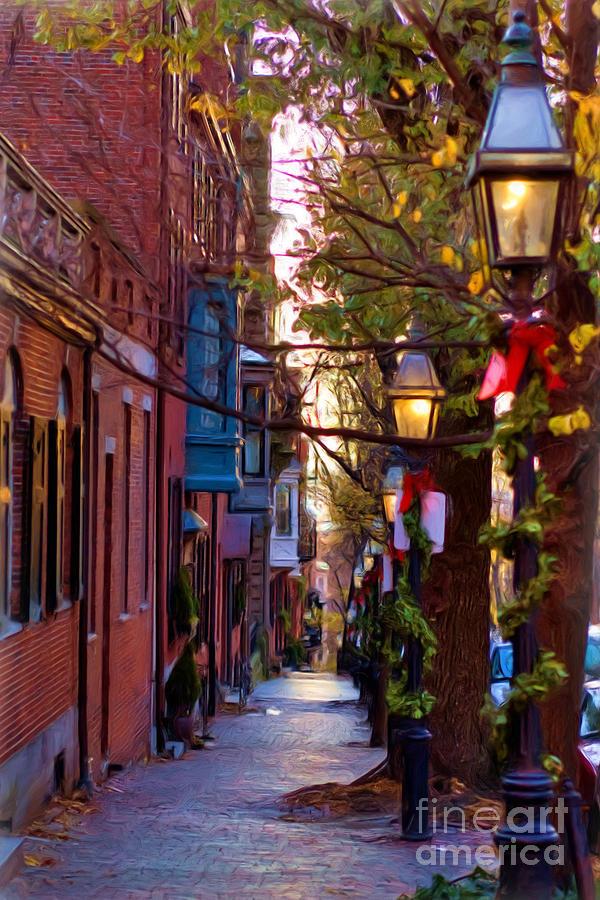 Lamp Post Photograph - Beacon Hill Streets by Joann Vitali