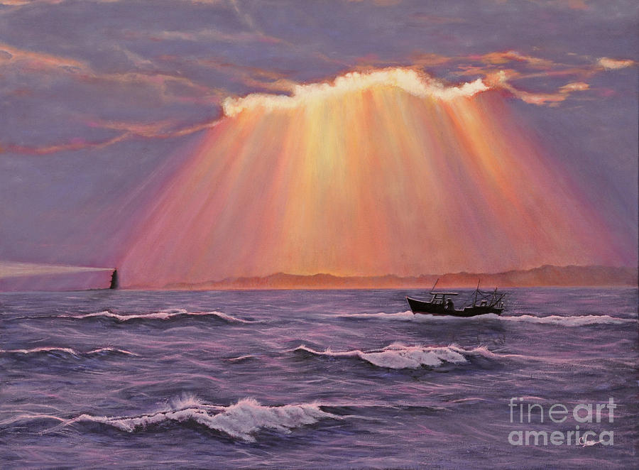 Sunset Painting - Beacons Of Light by Cindy Lee Longhini