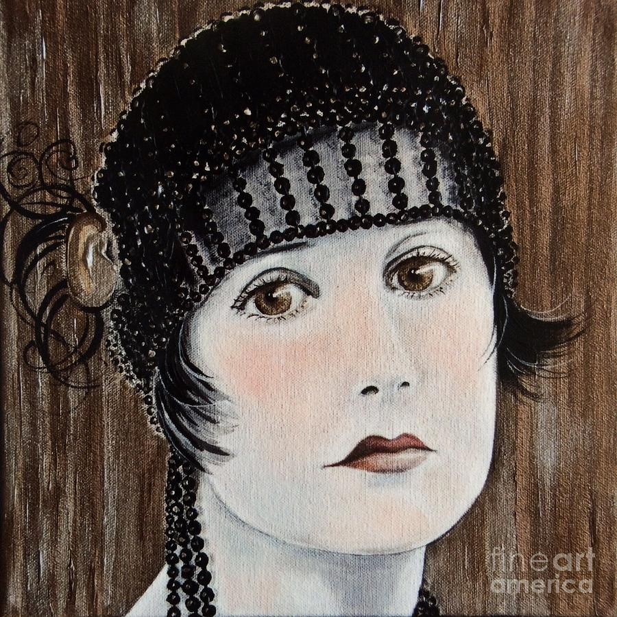 Flapper Painting - Beaded Flapper Hat by Barbara Chase