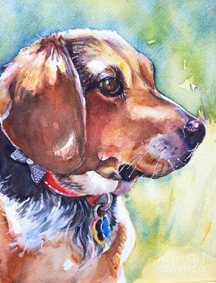 Pet Portrait Painting - Beagle Dog by Maria Reichert
