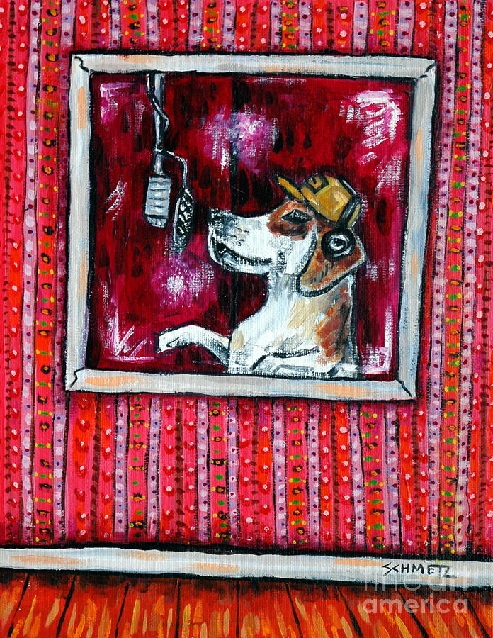 Beagle Painting - Beagle In The Vocal Booth by Jay  Schmetz