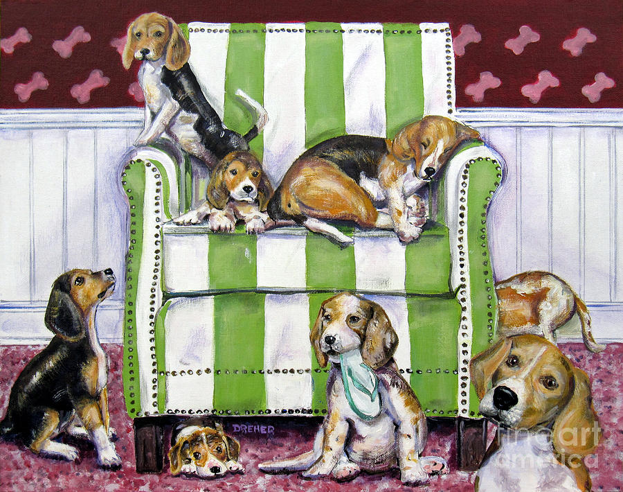 Beagles Painting - Beagle Mania by Chris Dreher