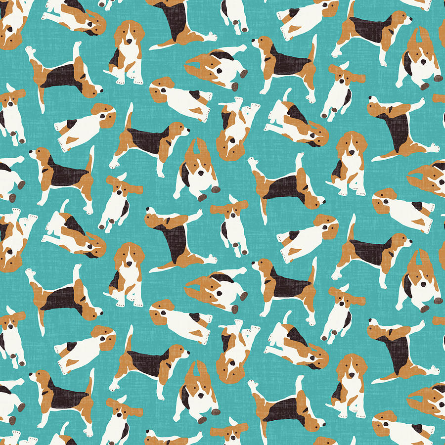 Beagle Drawing - Beagle Scatter Blue by MGL Meiklejohn Graphics Licensing