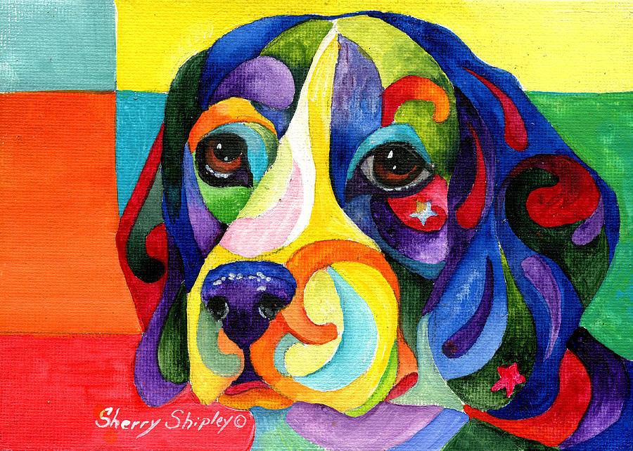 Dog Painting - Beagle by Sherry Shipley