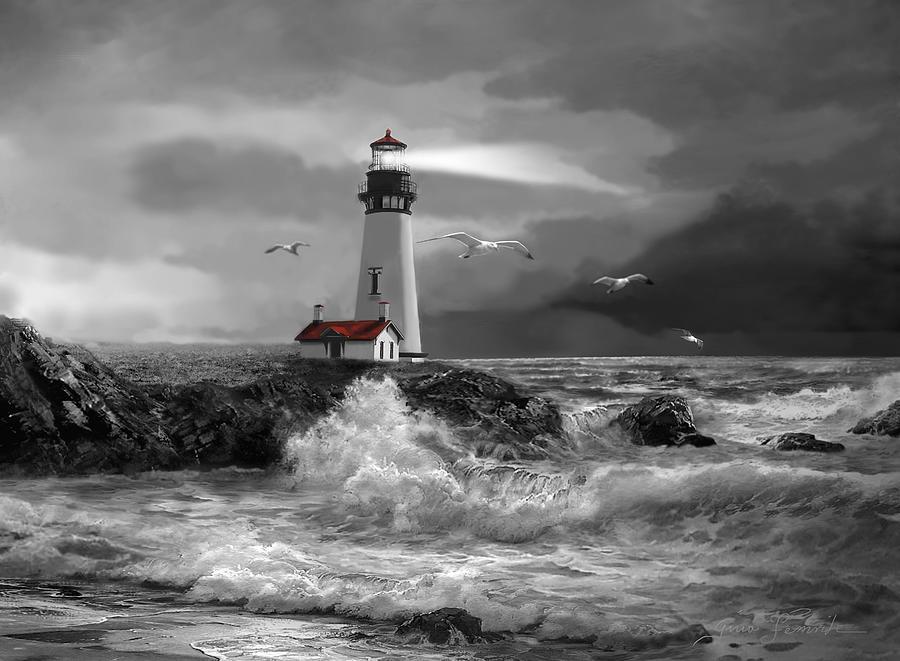 Beam Of Hope In Black And White Painting by Regina Femrite