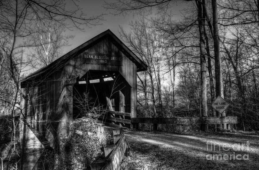 Covered Bridges Photograph - Bean Blossom Bridge Bw by Mel Steinhauer