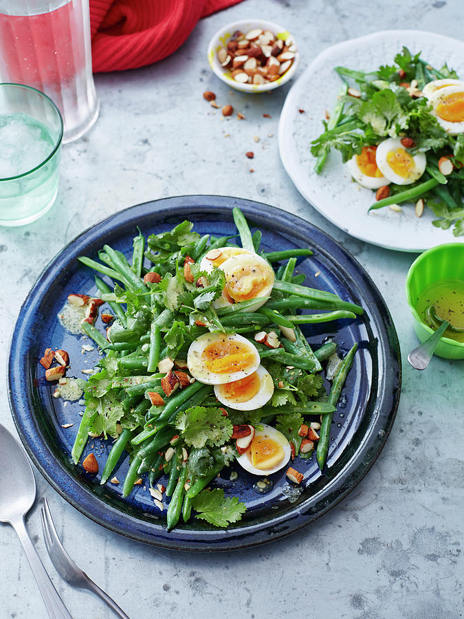 Bean, Coriander, Egg And Almond Salad Photograph by Brett Stevens