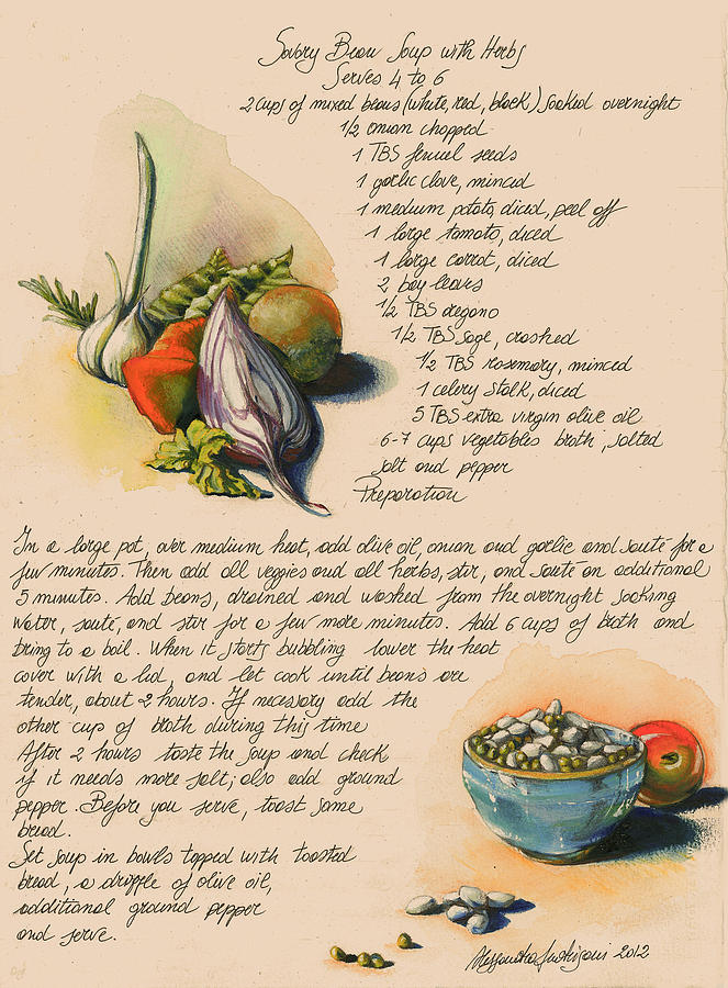 Colorful Painting - Bean Soup And Vegetables by Alessandra Andrisani