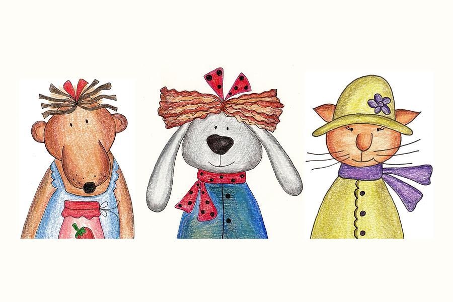 Bear, Bunny And Cat Digital Art by Ekaterinavassilieva