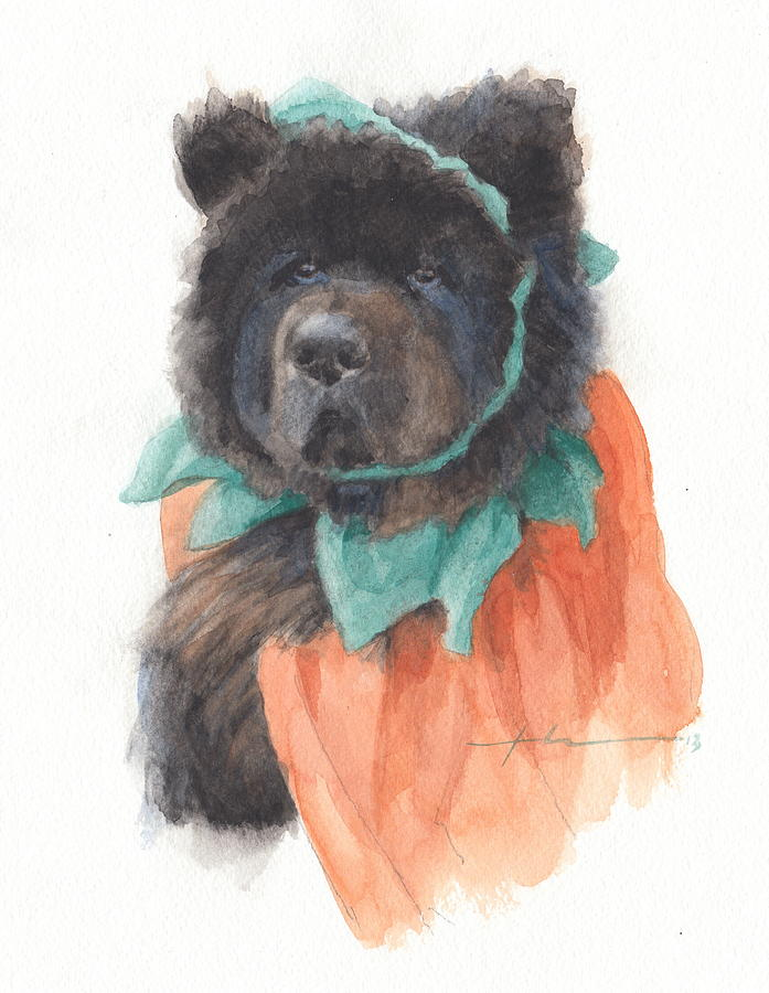 Bear Dog Pumpkin Costume Watercolor Portrait Drawing by Mike Theuer