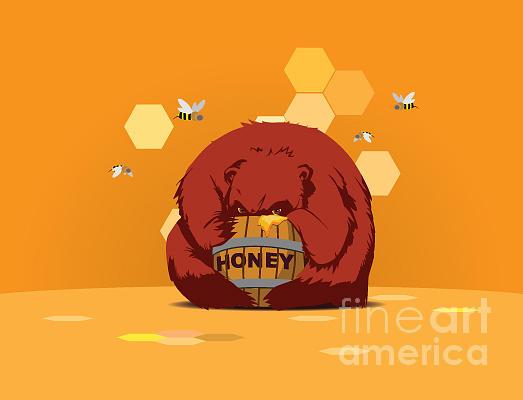 Lunch Digital Art - Bear Eats Honey From Barrel Against by Funhare