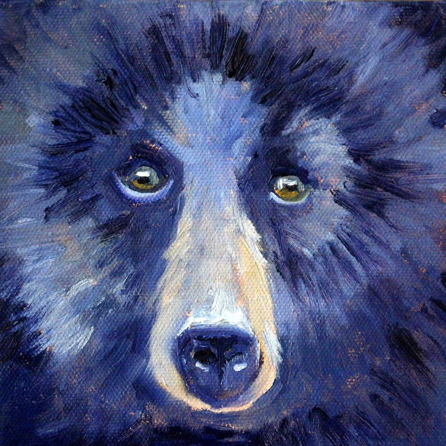 Bear Painting - Bear Face by Nancy Merkle