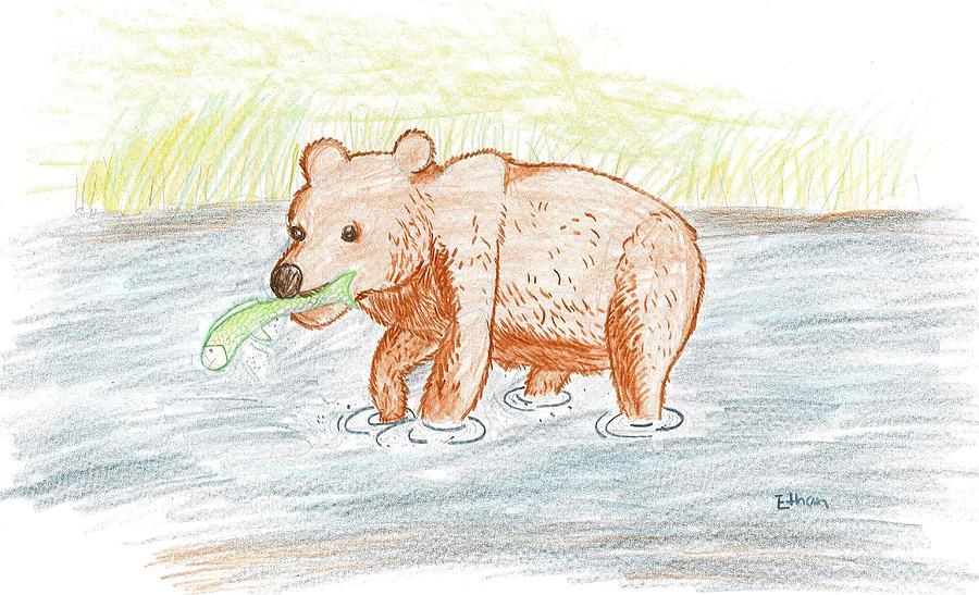 Bear Drawing - Bear Fishing by Ethan Chaupiz