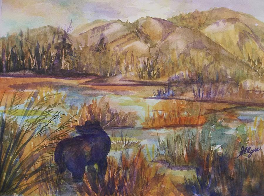 Black Bear Painting - Bear In The Slough by Ellen Levinson