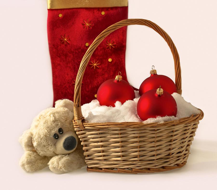Christmas Photograph - Bear Is Near Wicker With Christmas Balls  by Sviatlana Kandybovich