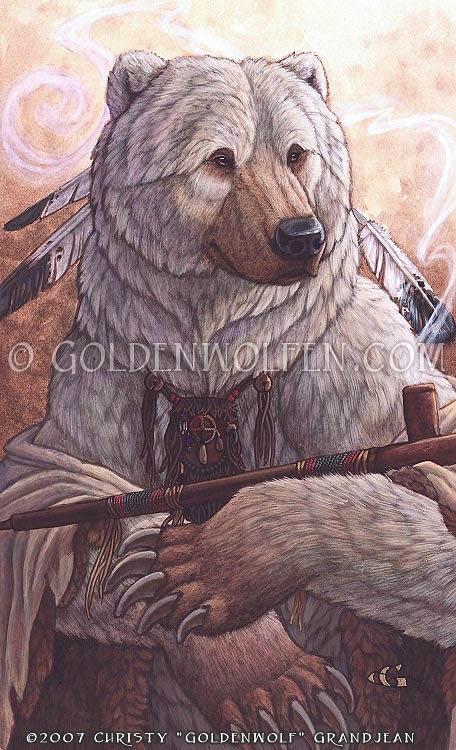 Bear Painting - Bear Of Peace by Christy Grandjean