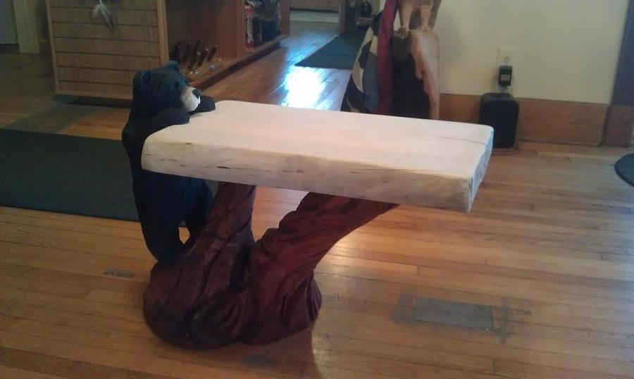 Bear table sculpture by jon vincent antonuk
