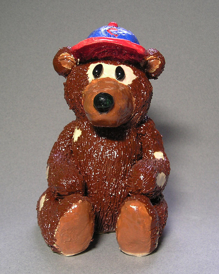 Clay Sculpture - Bear With No Hair by Jeanette K