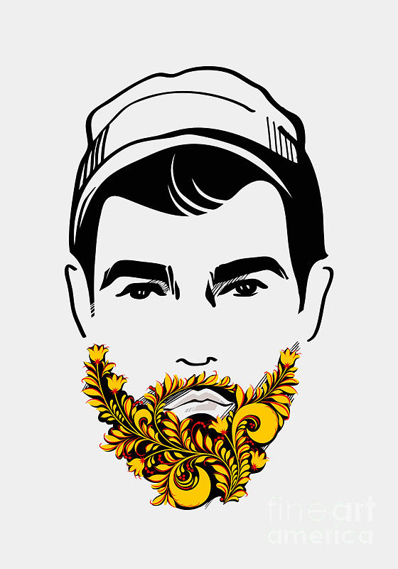 Curl Digital Art - Beard And Mustache Man. Traditional by Pevuna