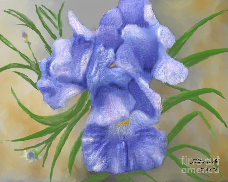Bearded Iris Painting - Bearded Iris Blue Iris Floral  by Judy Filarecki