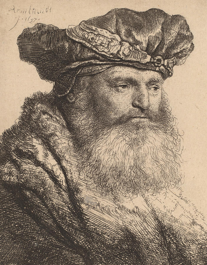 Rembrandt Drawing - Bearded Man In A Velvet Cap With A Jewel Clasp by Rembrandt