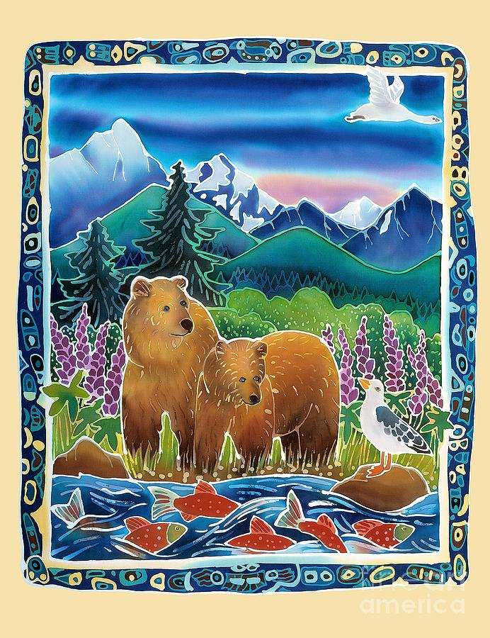 Bear Painting - Bears And Salmon by Harriet Peck Taylor