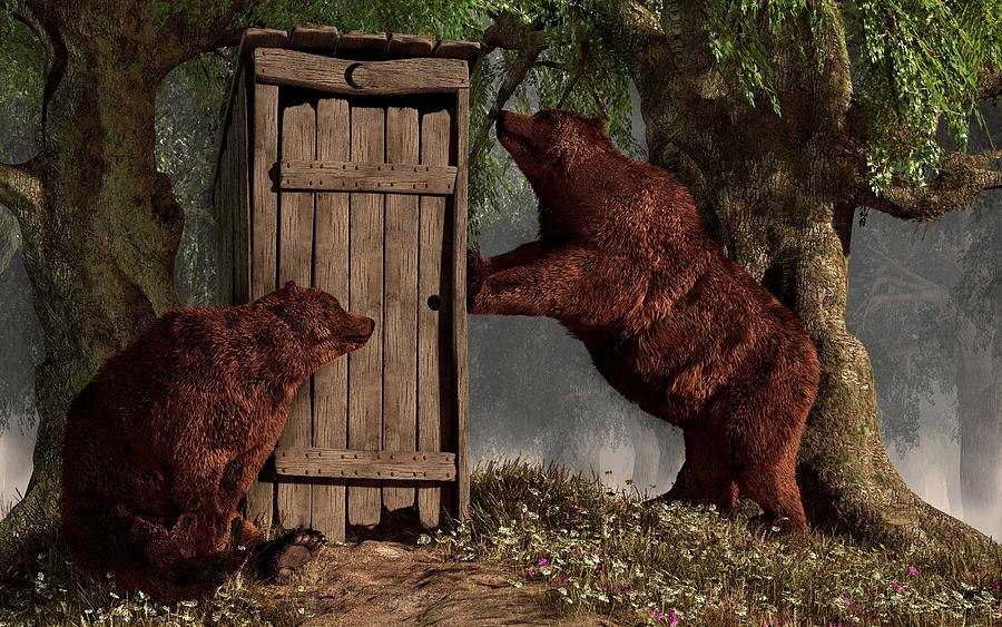 Rustic Digital Art - Bears Around The Outhouse by Daniel Eskridge