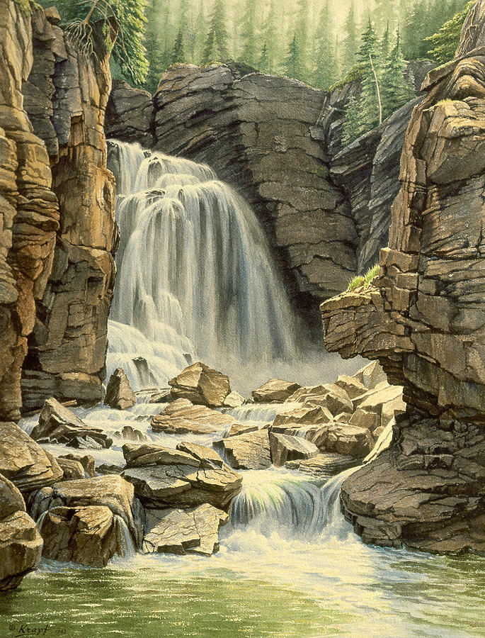 Landscape Painting - Beartooth Falls by Paul Krapf