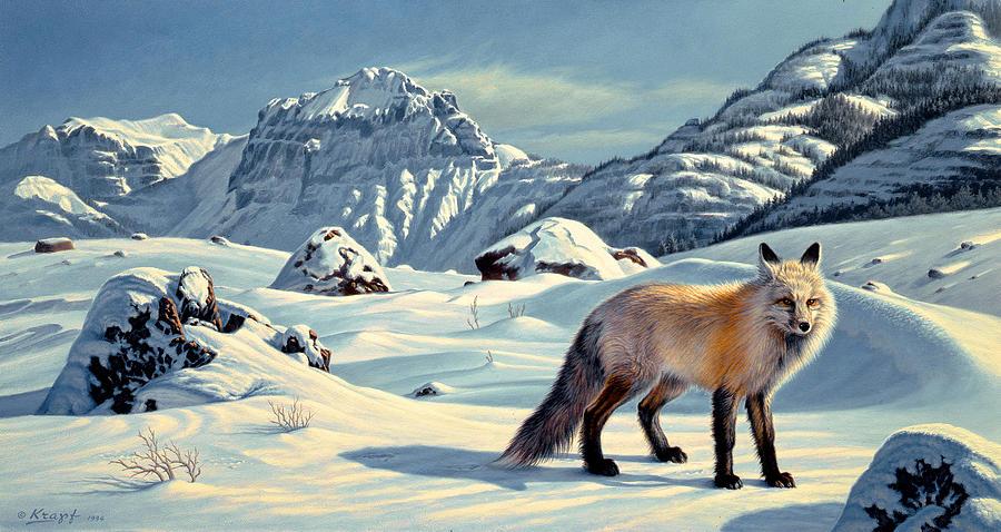 Wildlife Painting - Beartooth Fox by Paul Krapf