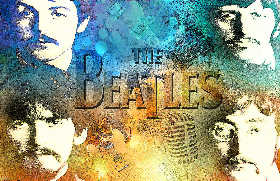 Beatles Digital Art - Beatle Montage by Greg Sharpe