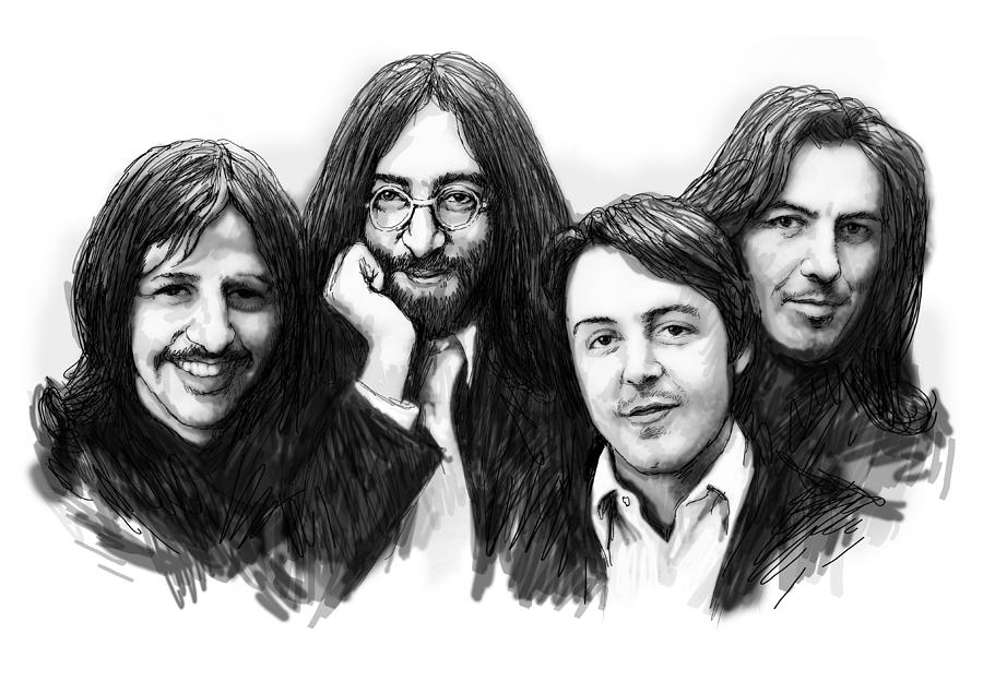 Paul mccartney drawing beatles blackwhite drawing sketch poster by kim wang