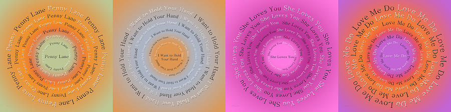 Song Digital Art - Beatles Circle Of Songs Panorama 1 by Andee Design