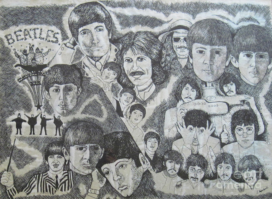 Beatles Drawing - Beatles Tribute by Susan Plenzick