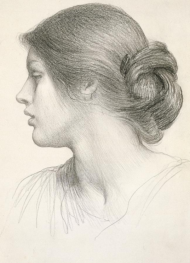 Female Drawing - Beatrice Stuart by Sir Frank Dicksee