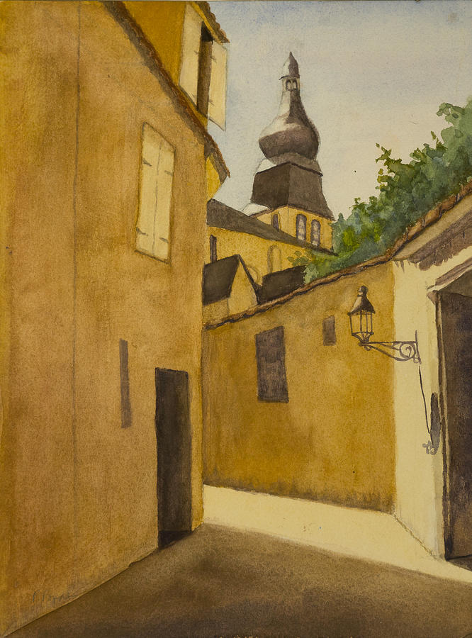 Watercolor Painting - Beau Village by Peggy Poppe