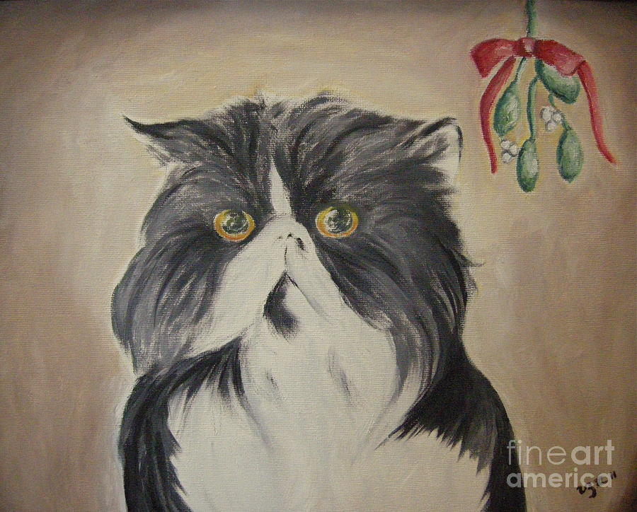 Cat Painting - Beau With Mistletoe by Victoria Lakes