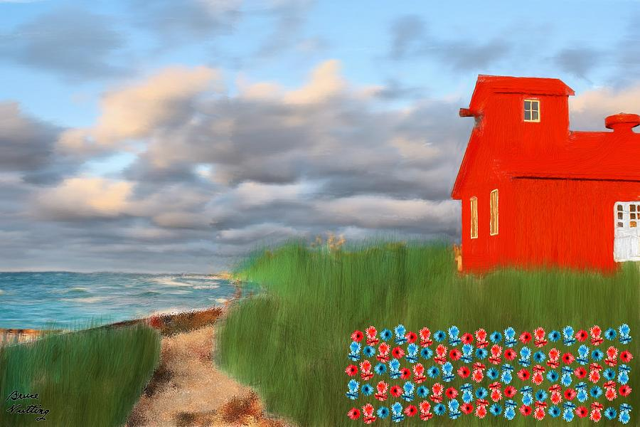 Red Painting - Beautification Of A Lighthouse by Bruce Nutting