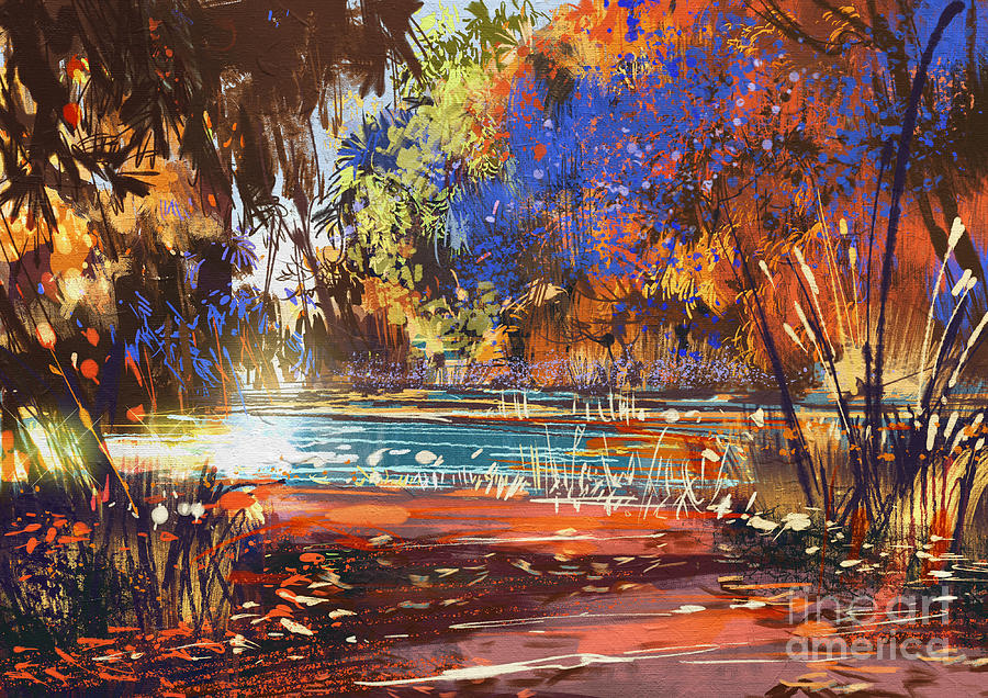 Beautiful Autumn Landscape With Flowers Digital Art By Tithi Luadthong